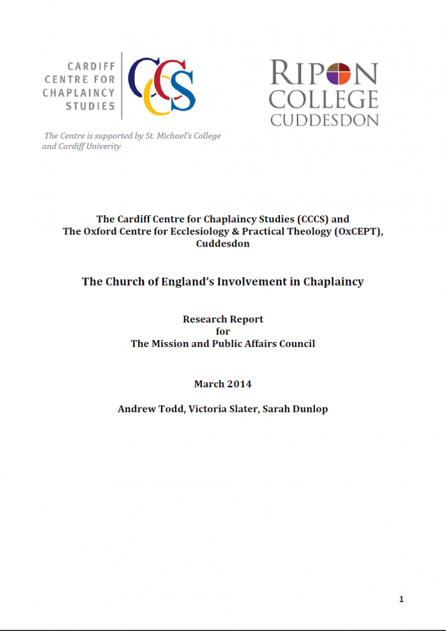 New Report on C of E's Involvement in Chaplaincy